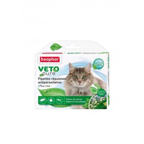 Pipettes répulsives antiparasitaires Chat Beaphar VETOpure