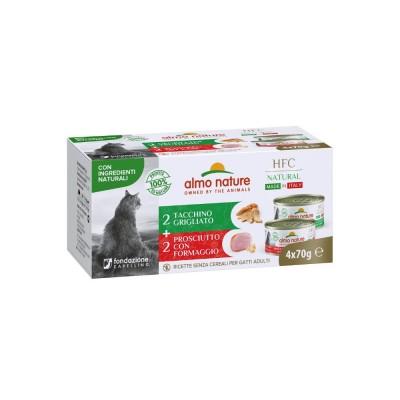 Almo Nature Pâtées HFC Natural 2x Jambon / Fromage & 2x Dinde grillé Almo Nature 4 x 70 g ALC547072HMULTI
