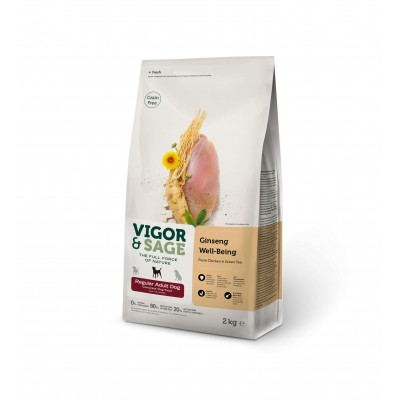 Croquettes Vigor & Sage - Ginseng, poulet & thé vert - Taille moyenne