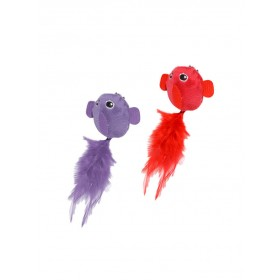 Assortiment d'oiseaux en peluche Rouge & Lilas Cat Toy Duvo+